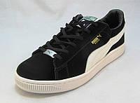 Кроссовки мужские  Puma Suede замшевые черно-белые (пума) (р.44,45,46)