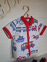 Стильная модная рубашка на мальчика с принтом машинки из хлопка