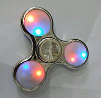 Серебрянный светящийся спиннер. Оригинальные Spinner оптом 207