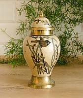 Винтажная индийская ваза с крышкой, латунь, эмаль, Индия, фото 1