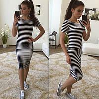 Модное стильное женское платье-тельняшка
