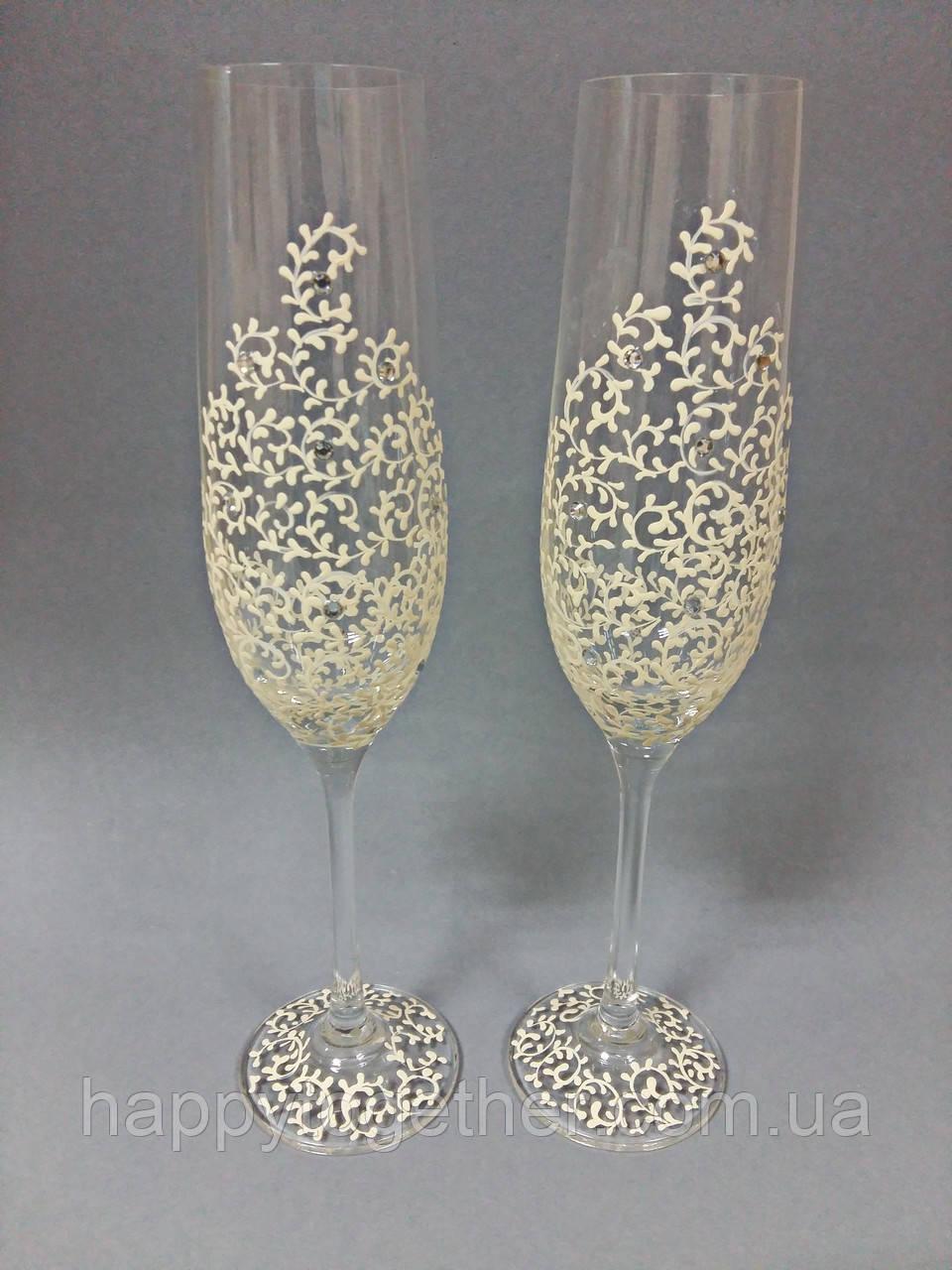 Свадебные бокалы ручной работы с росписью