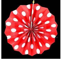 Бумажный веер с рисунком 20 см.  в горошек красный