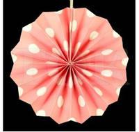 Бумажный веер с рисунком 20 см.  в горошек нежно-розовый