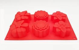 Форма для выпечки Маргаритки ассорти 6 шт новая на планшете силиконовая