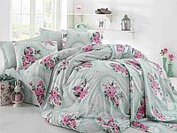 Летний комплект постельного белья Cotton Life c жаккардовым покрывалом