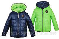 Демисезонная двухсторонняя куртка (синий с салатовым)