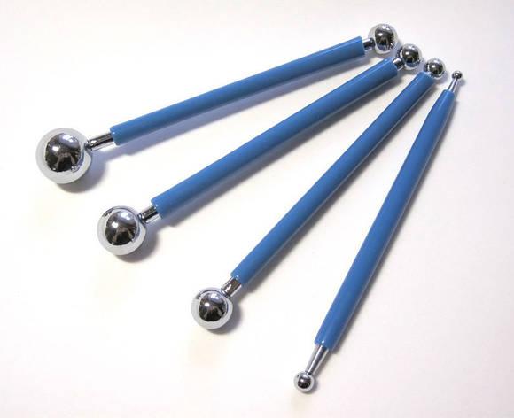 Набор металлических стеков с шариками для мастики  из 4-х, фото 2