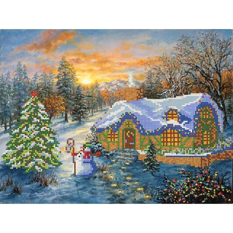 Схема для вышивания бисером Рождественский домик РКП-071
