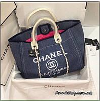 Женская сумка Шанель пляжная, текстиль, холст синяя Люкс копия