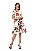 Актуальное платье Бриана белое с розами