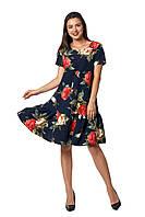 Актуальное платье Бриана тёмно-синее с розами