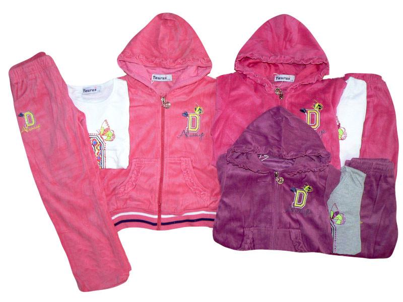 Велюровые костюмы для девочек опт,TAURUS размеры 98-128, арт. F 214