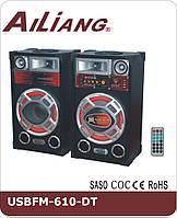 """Активная акустическая система колонки Ailiang DT-610, 70W, 10"""" дюймов, Bluetooth, пульт, подсветка"""
