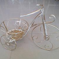 Подставка для цветов велосипед  бежевый