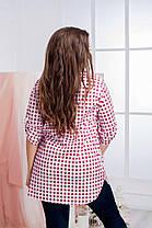 Модная рубашка на пуговицах, декорирована принтом-клетка., фото 2