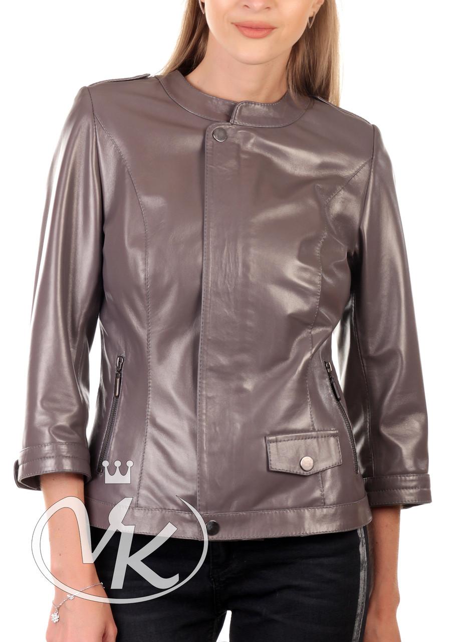 Серая кожаная куртка 44 размера (Арт. NOV231)