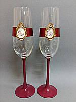 Свадебные бокалы ручной работы с монограммой, фото 1