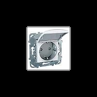 Розетка с суппортом. С заземляющим контактом. С крышкой. Белый Unica Schneider Electric MGU5.037.18TAZD