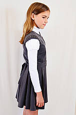 Подростковый школьный и нарядный красивый серый сарафан с поясом р.146-164, фото 2