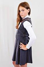 Подростковый школьный и нарядный красивый серый сарафан с поясом р.146-164, фото 3