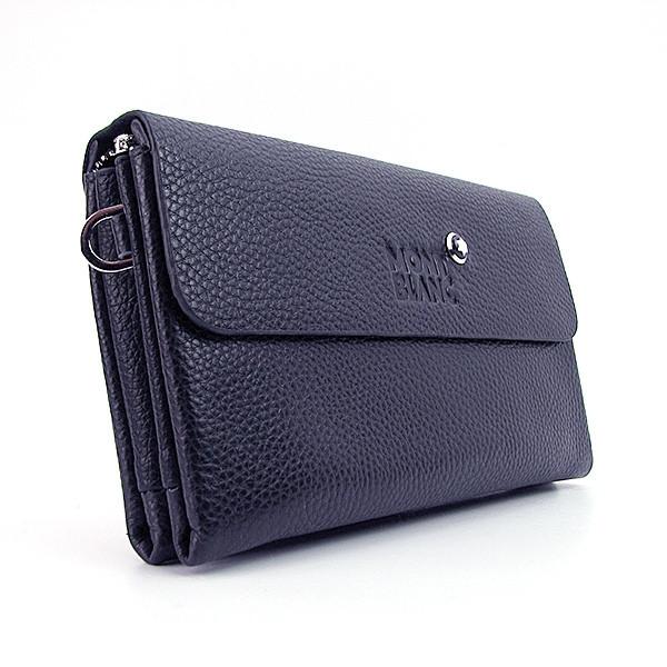 Клатч кожаный мужской clutch синий Mont Blanc 1207-2