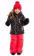 Зимний термокостюм для девочки от 2 до 12 лет (куртка и полукомбинезон), р. 92-146 ТМ Nanö Black / Coral Pink 266 M F16