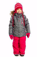 Зимний термокостюм для девочки от 2 до 10 лет (куртка и полукомбинезон), р. 92-140 ТМ Nanö Gray / Raspberry 274 M F16