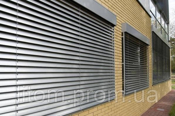 Рафшторы (фасадные жалюзи), ширина ламели 80мм, С-образная ламель, комплектация Чехия, сборка Украина