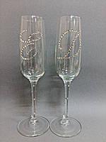 Свадебные бокалы ручной работы со стразами