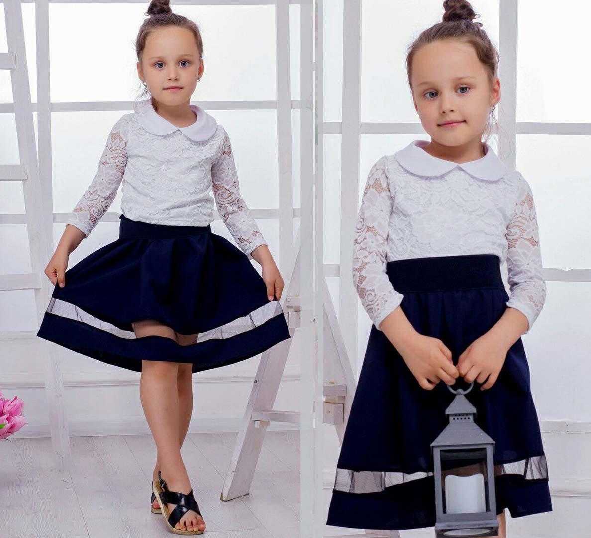 """Детская стильная юбка 3551 """"Габардин Полоска Сетка"""" в школьных расцветках"""