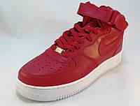 Кроссовки мужские Nike Air Force кожаные красные (аир форсы)  (р.44)