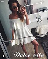 Расклешенное летнее платье с воланом