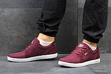 Мужские кроссовки Lacoste темно бордовые,текстиль, фото 2
