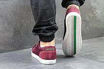 Мужские кроссовки Lacoste темно бордовые,текстиль, фото 3