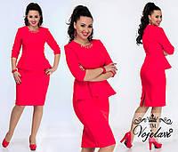 Женское Платье с Баской (KL012/Red)