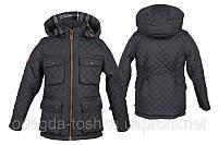Детская стеганная куртка для мальчика на флисе (темно серый)