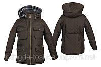 Детская стеганная куртка для мальчика на флисе (хаки)