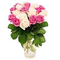 """Букет """"19 белых и розовых роз"""""""