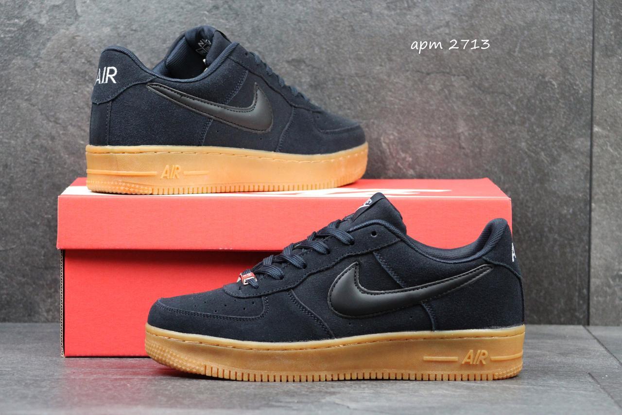Мужские кроссовки Nike Air Force темно синие замшевые 44р