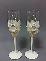 Свадебные бокалы ручной работы с монограммой