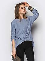 Женская блуза свободного фасона.-в полоску/черный/белый