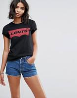 """Жіноча футболка """"Levis"""" левіс чорна з червоним"""