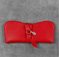 Чехол для очков кожаный красный  (ручная работа), фото 1