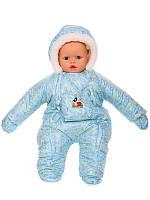 Зимний комбинезон для новорожденных (0-6 месяцев) голубые пуговички