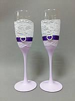 Свадебные бокалы ручной работы с кружевом