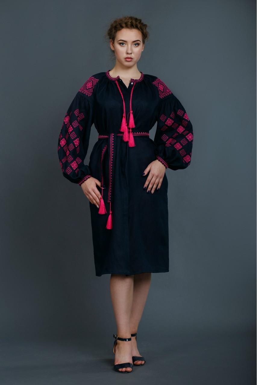 Женское вышитое платье «Окошко темно-синий» - Патриотический  интернет-магазин «Бандерівка 71f844eb88107