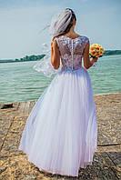 Белое кружевное свадебное платье А-силуэт размер 44-46