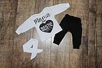 Комплект на девочку *Мама* белая кофточка+черные штаники р.68/74, 74/80, 80/86