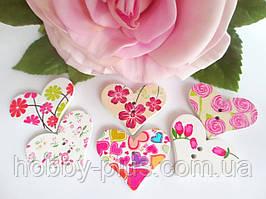 """Дерев'яні гудзики """"Сердечко з квітковим візерунком"""", колір мікс, 1 шт"""
